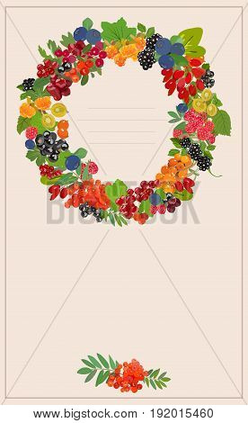Vector vertical banner with multi-colored juicy berries in the form of a wreath and with a place for an inscription.