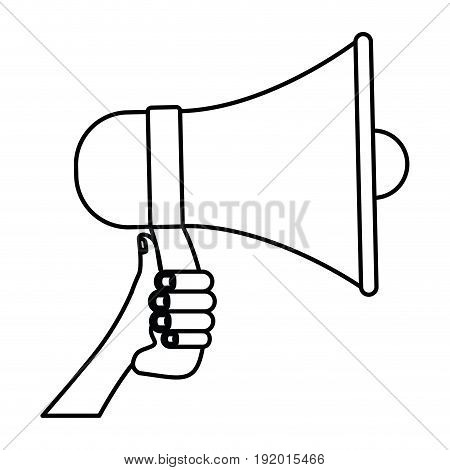 white background with monochrome silhouette of hand holding megaphone vector illustration