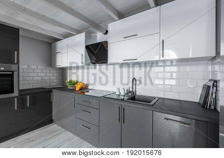 Kitchen With Brick Tiles