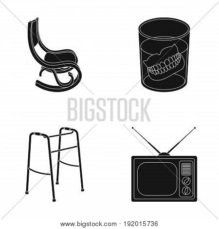 Denture, rocking chair, walker, old TV.Old age set collection icons in black style vector symbol stock illustration .
