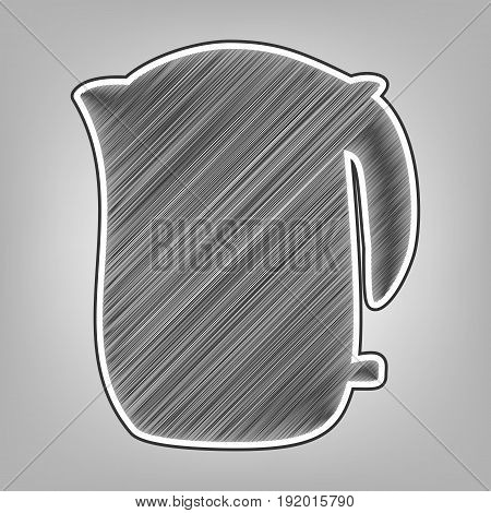 Electric kettle sign. Vector. Pencil sketch imitation. Dark gray scribble icon with dark gray outer contour at gray background.