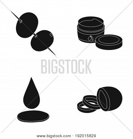 Olives on skewers. A piece of black olives, a jar of cream, a drop of oil.Olives set collection icons in black style vector symbol stock illustration .