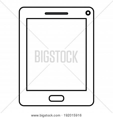 white background with monochrome silhouette of tablet vector illustration