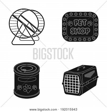 Container for carrying animals and other attributes of the zoo store. Pet shop set collection icons in black style vector symbol stock illustration web.