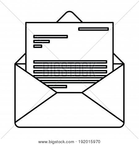 white background with monochrome silhouette of envelope mail opened with letter vector illustration