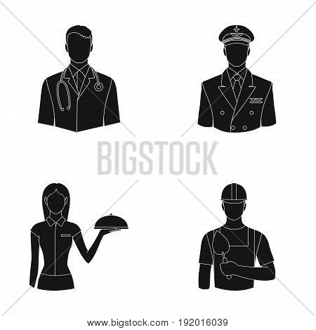 The doctor, the pilot, the waitress, the builder, the mason.Profession set collection icons in black style vector symbol stock illustration .