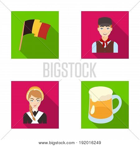 National flag, belgians and other symbols of the country.Belgium set collection icons in flat style vector symbol stock illustration .