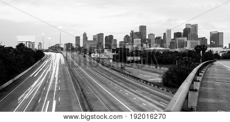 Roads Seem to Converge Downtown City Skyline Houston Texas