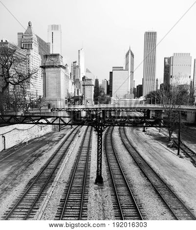 A monochrome representation of the railyards and buildings of Chicago