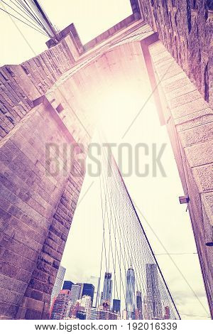 Vintage Stylized Wide Angle Picture Of Brooklyn Bridge, Nyc.