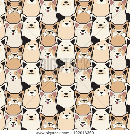 Vector animal seamless dog pattern. Pug cartoon print. Funny decorative puppy set. Dog with bone simple print.