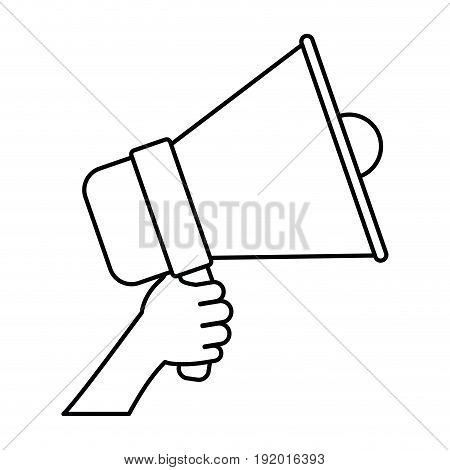 white background with monochrome silhouette of hand holding sound device vector illustration