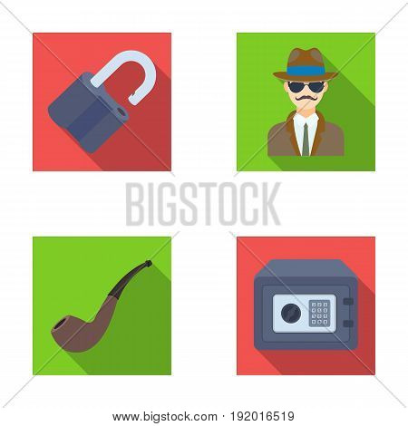 Lock hacked, safe, smoking pipe, private detective.Detective set collection icons in flat style vector symbol stock illustration .