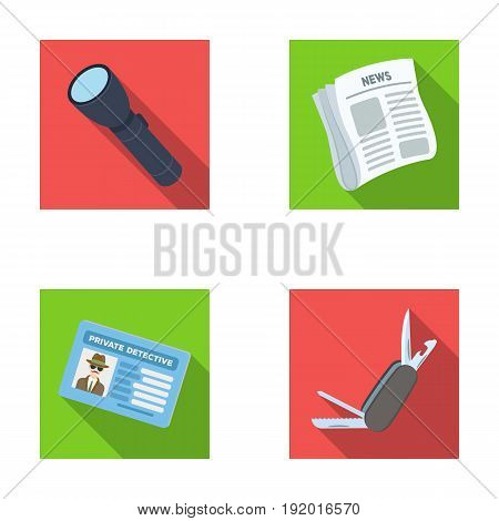 Flashlight, newspaper with news, certificate, folding knife.Detective set collection icons in flat style vector symbol stock illustration .
