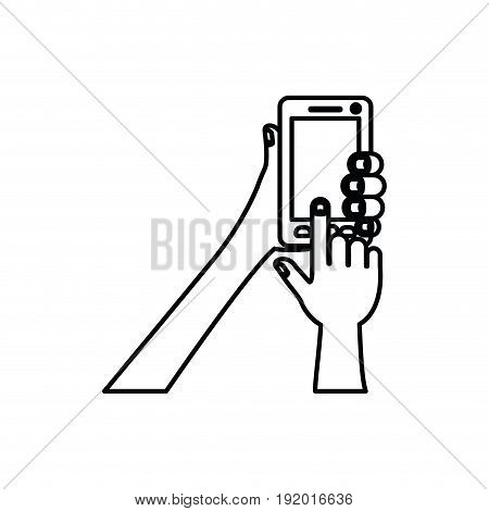 white background with monochrome silhouette of hands holding smartphone vector illustration