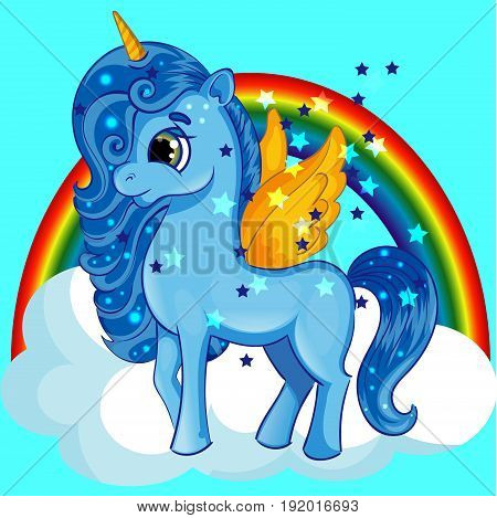 Blue Pony Unicorn with Golden Wings and Big Eyes on the Cloud with Rainbow, Cartoon Hand Drawn Character, Vector Illustration EPS 10