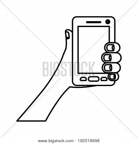 white background with monochrome silhouette of hand holding smartphone vector illustration