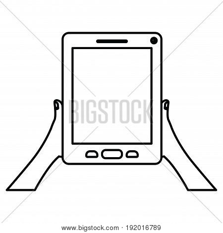 white background with monochrome silhouette of hands holding tablet device vector illustration