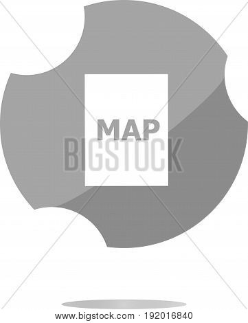 Map Icon Web Button With Map . Trendy Flat Style Sign Isolated On White Background