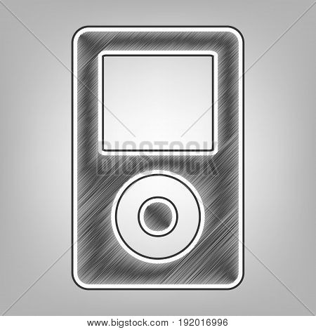 Portable music device. Vector. Pencil sketch imitation. Dark gray scribble icon with dark gray outer contour at gray background.