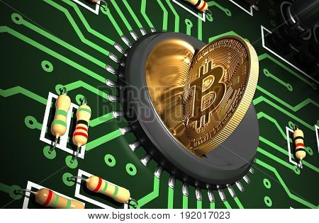 Putting Bitcoin Into Coin Slot On Green Motherboard And Creating Heart Shape With Reflection. 3D Illustration.