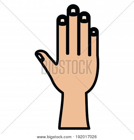 white background with colorful silhouette of right hand with thick contour vector illustration