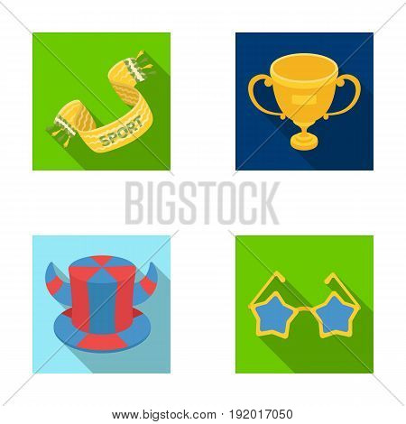 A scarf, a hat with horns and other attributes of the fans.Fans set collection icons in flat style vector symbol stock illustration .