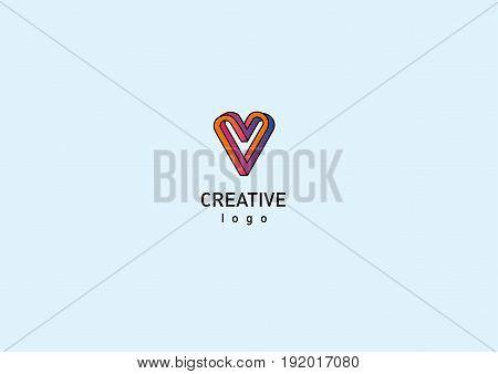 Contour modern logo illusion of the heart