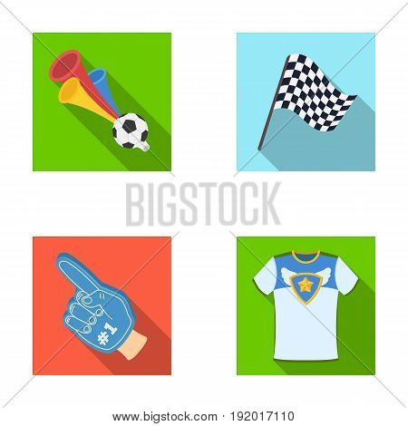 Pipe, uniform and other attributes of the fans.Fans set collection icons in flat style vector symbol stock illustration .