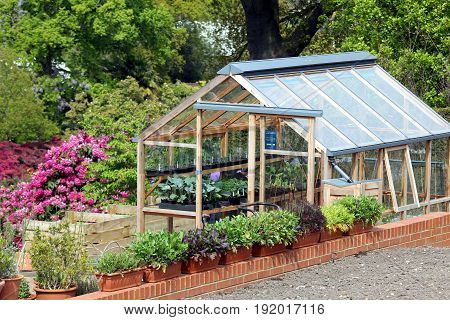 Greenhouse Or Hothouse Set In A Well Maintained Garden