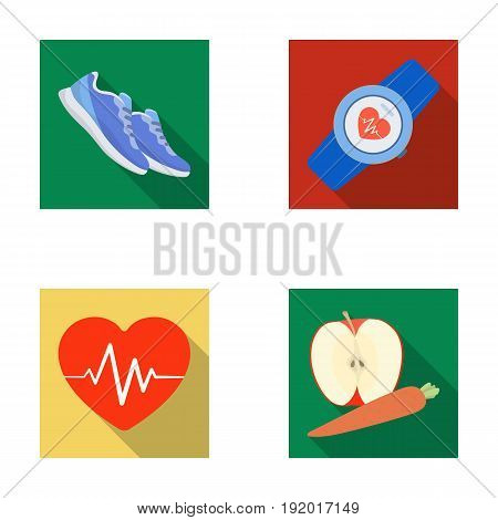 Heart rhythm, vitamins and other equipment for training.Gym and workout set collection icons in flat style vector symbol stock illustration .