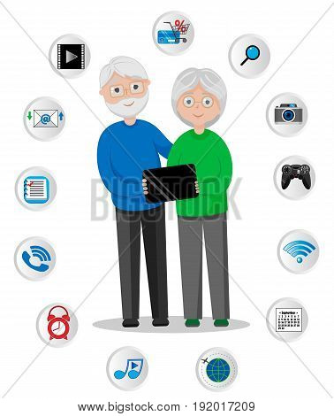 Old Man and Woman, GrandFather and GrandMother, Happy Grandparents with Tablet, Email, Photos, Video, Store, Calendar, Wi-Fi, Music, Games,