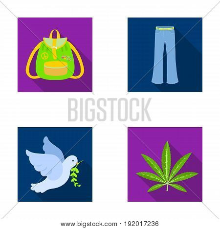 A cannabis leaf, a dove, jeans, a backpack.Hippy set collection icons in flat style vector symbol stock illustration.