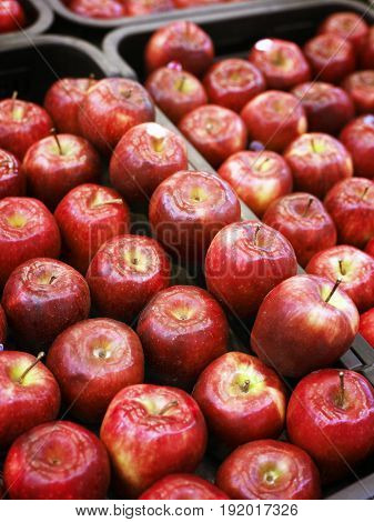 red apples at market place
