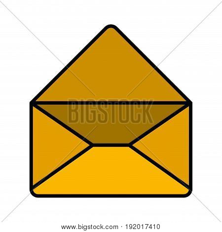 white background with colorful silhouette of envelope mail opened in closeup with thick contour vector illustration