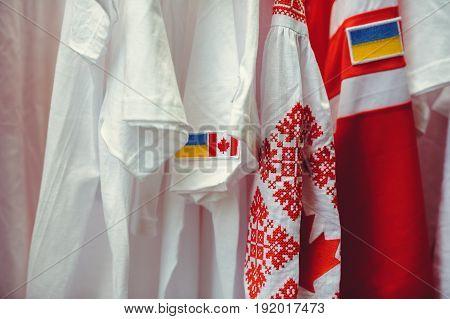 Ukrainian Vishyvanka With The Canadian Flag, Visa-free