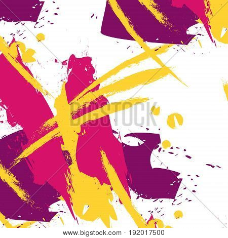 Vector fancy brushstroke easy pattern in pink, yellow bright colors. Minimal clothes expressive splash strokes. Arty paint fresh concept hand drawn online design.