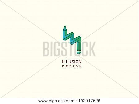 Contour green logo illusion of a pencil gradient