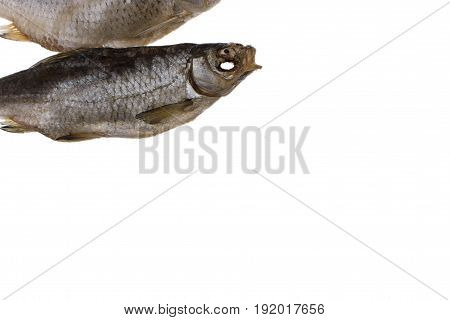 Dried Salted Roach Fish On A Isolated White Background