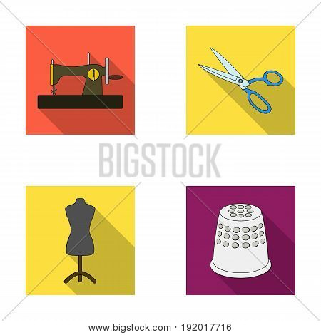 Manual sewing machine, scissors, maniken, thimble.Sewing or tailoring tools set collection icons in flat style vector symbol stock illustration .