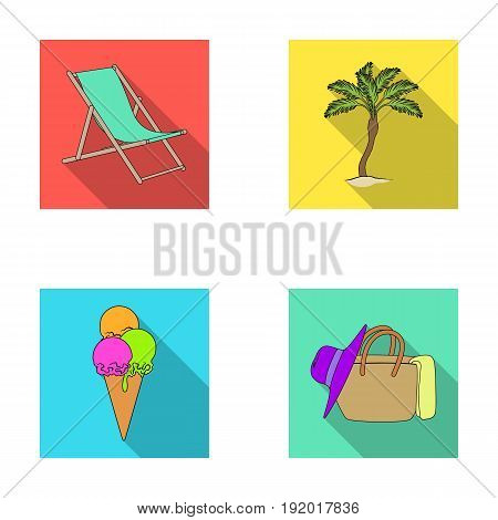 Beach, palm tree, ice cream.Summer vacation set collection icons in flat style vector symbol stock illustration .