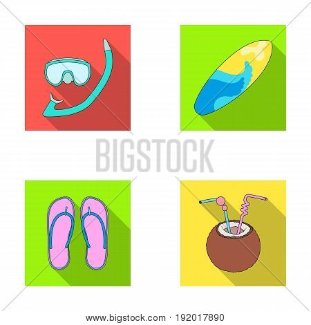 Diving, surfing, cocktail.Summer vacation set collection icons in flat style vector symbol stock illustration .