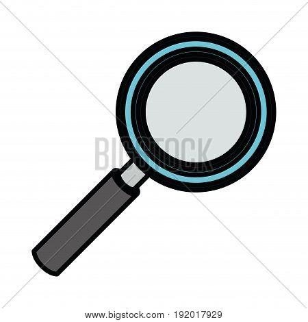 white background with colorful magnifying glass with thick contour vector illustration