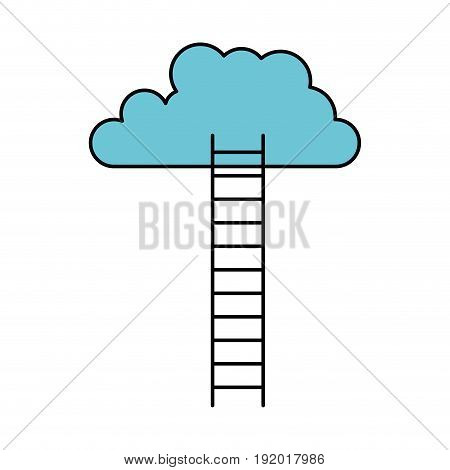white background with colorful ladder to cloud with thick contour vector illustration