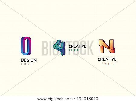 Set modern logos, geometry illusion in style gradient
