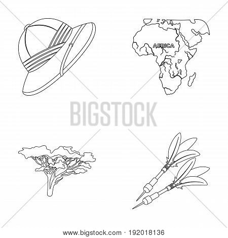 Cork hat, darts, savannah tree, territory map. African safari set collection icons in outline style vector symbol stock illustration .