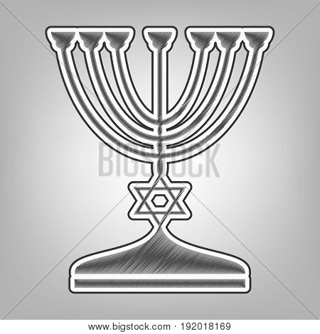 Jewish Menorah candlestick in black silhouette. Vector. Pencil sketch imitation. Dark gray scribble icon with dark gray outer contour at gray background.