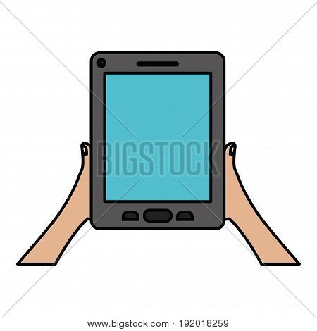 white background with colorful silhouette of hands holding tablet device with thick contour vector illustration