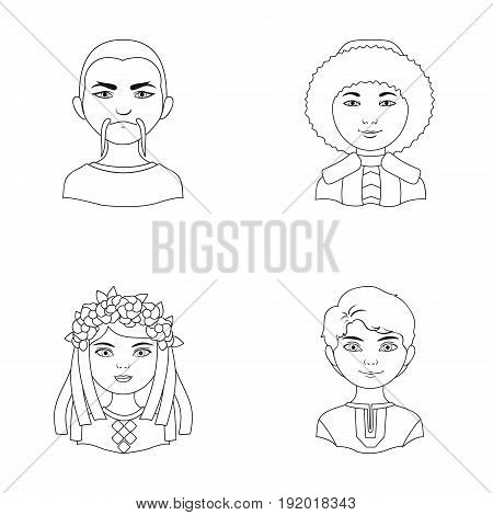 Chinese, ukrainian, russian, eskimo. Human race set collection icons in outline style vector symbol stock illustration .