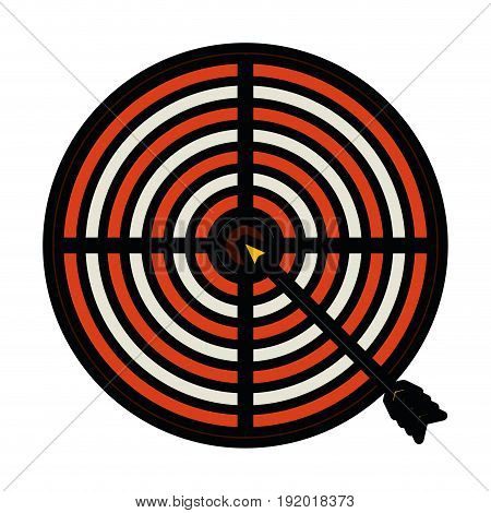 white background with colorful silhouette of arrow on target with thick contour vector illustration